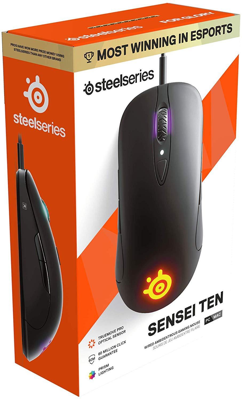 SteelSeries SENSEI TEN must juhtmega mänguri optiline hiir  l  18000 DPI
