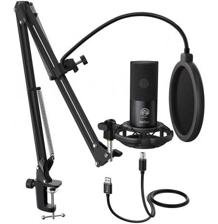 FIFINE T669 must kondensaatormikrofon koos juhtmega + hoidik | USB