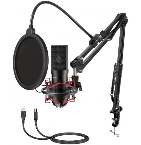 FIFINE T732 must kondensaatormikrofon koos juhtmega + hoidik | USB