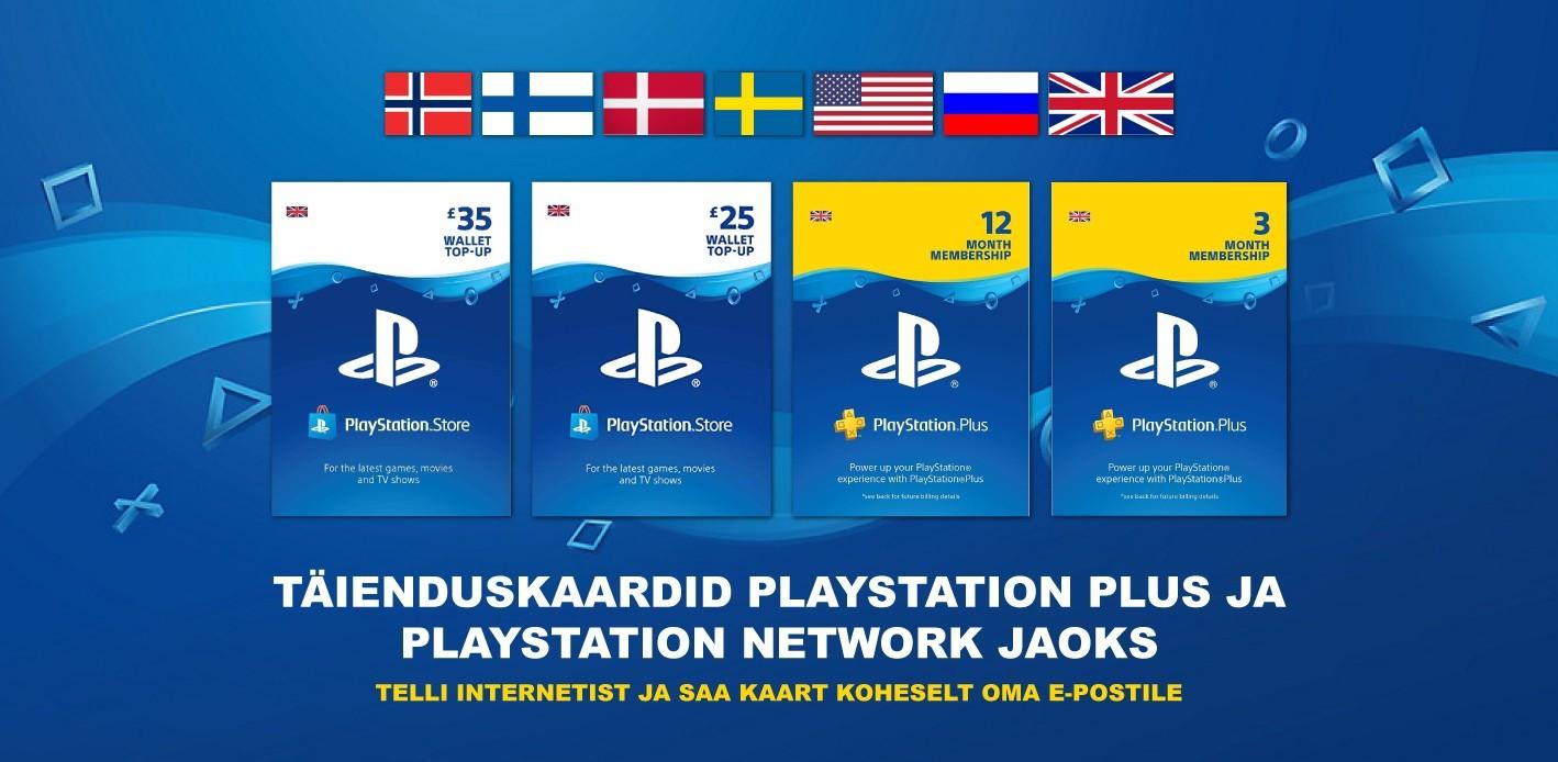 Täienduskaardid Playstation plus ja Playstation Network jaoks